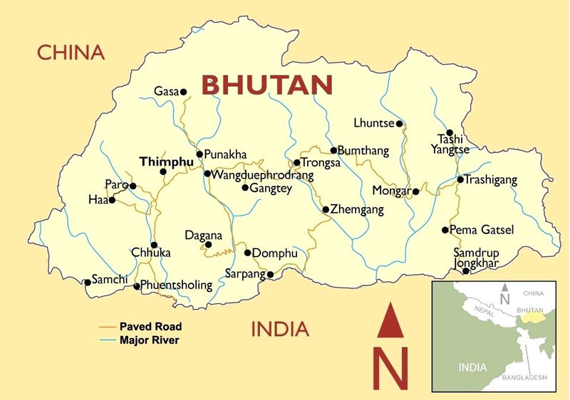 Bhutan Travel Map
